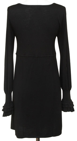 NANETTE LEPORE Black Dress Knit Sweater Long Sleeve Wool Sz S - Evesherfashion