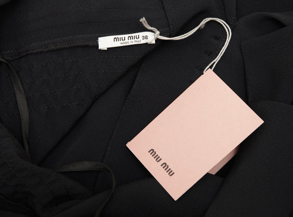 MIU MIU Dress Cap Sleeve Black Silk Blend Sz 38 NEW - Evesherfashion