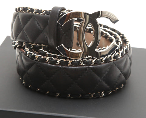 CHANEL Black Quilted Leather Belt Waist Silver Chain CC Buckle Sz 85 - Evesherfashion