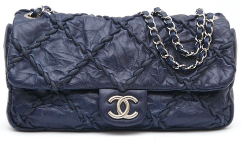 CHANEL Leather Shoulder Bag Navy Blue ULTRA STITCH Silver HW Chain Flap - Evesherfashion