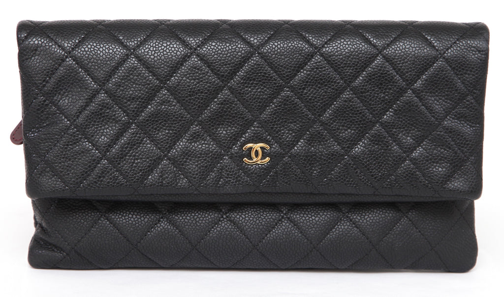 8bce38c6f5a63f ... CHANEL Quilted Black Caviar Leather Beauty CC Clutch Flap Bag Burgundy  Lining - Evesherfashion ...