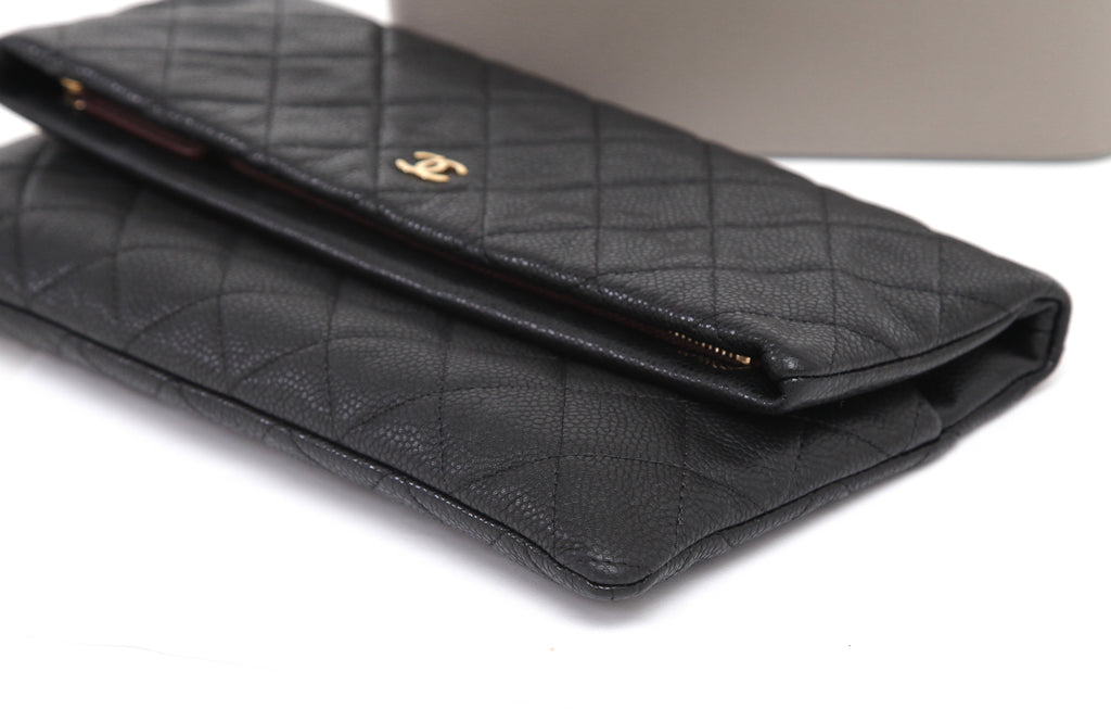 90917396440cdf ... CHANEL Quilted Black Caviar Leather Beauty CC Clutch Flap Bag Burgundy  Lining - Evesherfashion ...