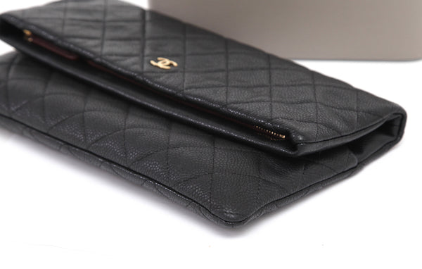 CHANEL Quilted Black Caviar Leather Beauty CC Clutch Flap Bag Burgundy Lining - Evesherfashion