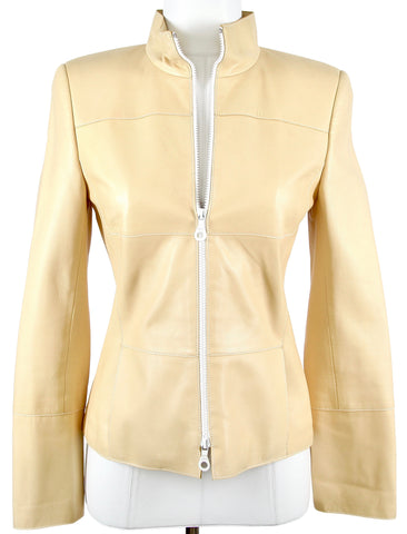 AKRIS Jacket Blazer Coat Leather BUTTER YELLOW Long Sleeve Zipper US 4 FR 36 - Evesherfashion