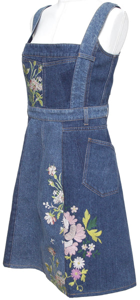 ALEXANDER McQUEEN Dress Denim Embroidery Floral Cotton Sleeveless Sz 46 - Evesherfashion