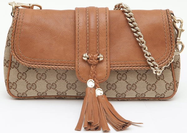 GUCCI GG Canvas Leather Bag MARRAKECH Flap Clutch Gold Chain Shoulder Strap - Evesherfashion