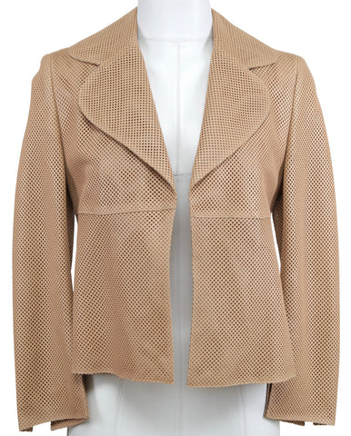 AKRIS Jacket Blazer Coat Leather Perforated Cropped Long Sleeve Open Front 4 36 - Evesherfashion