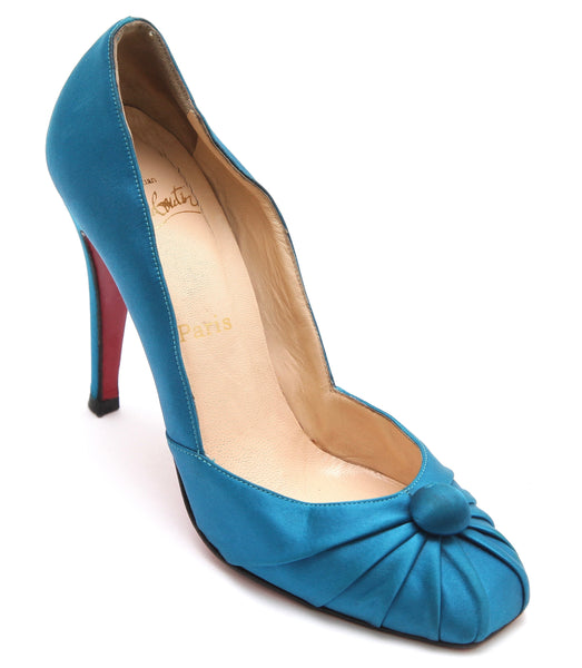 CHRISTIAN LOUBOUTIN Blue Satin Leather Pump Square Toe Ruching Button Sz 38.5 - Evesherfashion