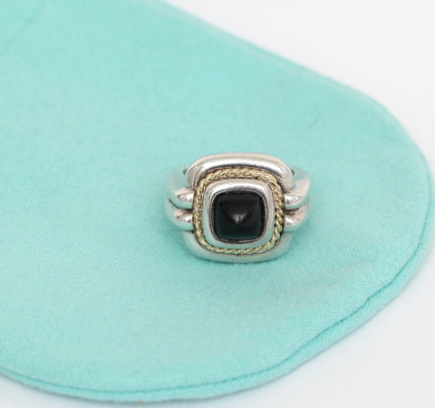 TIFFANY & CO. Sterling Silver 18kt Gold ONYX Square Cocktail Ring Band Sz 6.25 - Evesherfashion