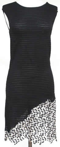 CHANEL Black Knit Dress Sleeveless Scoop Neck Print Crystal CC Spring 2011 Sz 36 - Evesherfashion