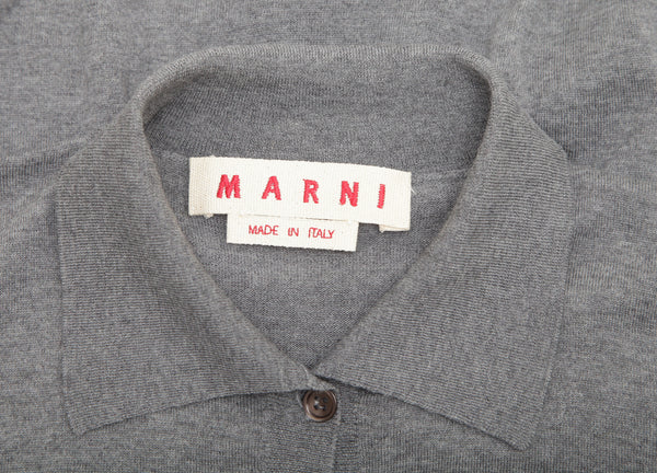 MARNI Cardigan Sweater Knit Top Grey Wool Collar Long Sleeve Button 36 - Evesherfashion