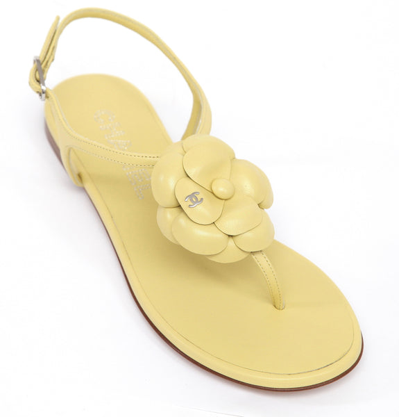 CHANEL Thong Sandal Yellow Lambskin Leather Camellia Shoe Silver CC 38C BN 2017 - Evesherfashion