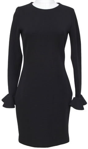 LANVIN Black Dress Long Sleeve Ruffled Sleeve Zipper Sz 40 Summer 2015 - Evesherfashion