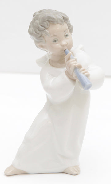 LLADRO Figurine Porcelain ANGEL with FLUTE Glossy Ornament - Evesherfashion