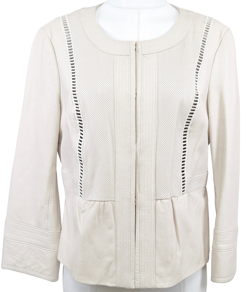 TORY BURCH Jacket Coat Leather Beige Perforated Long Sleeve L - Evesherfashion