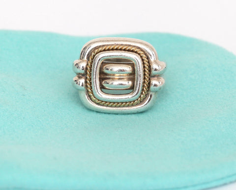 TIFFANY & CO. Sterling Silver 18kt Gold Square Cocktail Ring Band Sz 6.5 - Evesherfashion