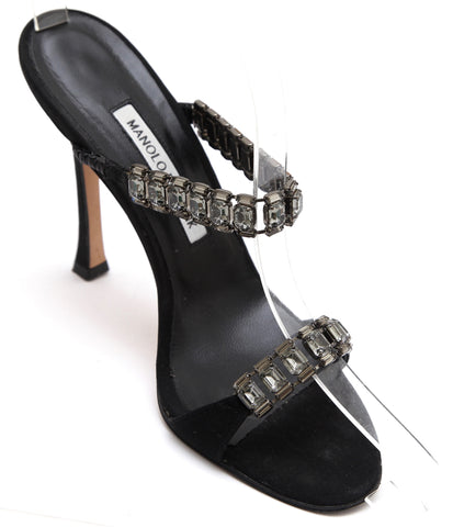 MANOLO BLAHNIK Black Slide Sandal Mule Grosgrain Crystals Strappy Heel 38 - Evesherfashion