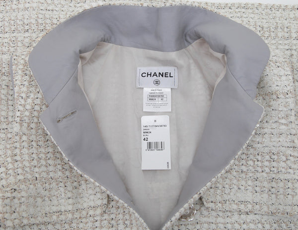 CHANEL Dress Lesage Tweed Grey Leather Pearl Buttons Sz 42 2014 14S NWT - Evesherfashion
