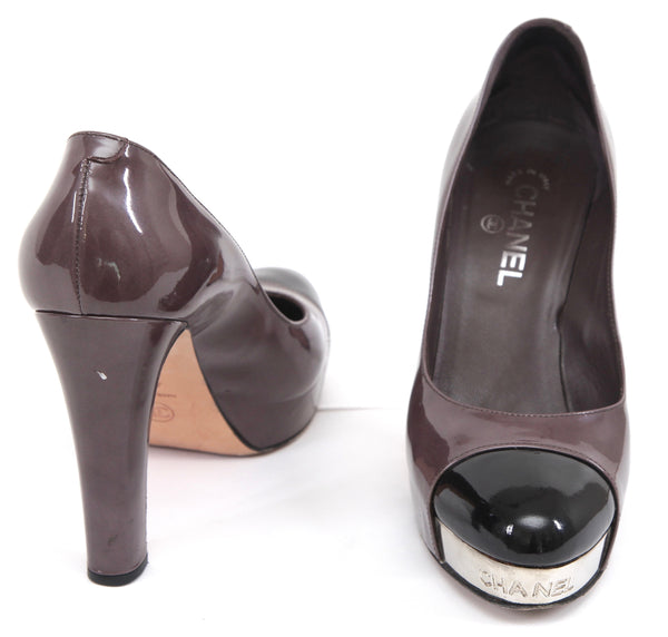 CHANEL Platform Pump Patent Leather Cap Toe Brown Black Silver Sz 40.5 - Evesherfashion