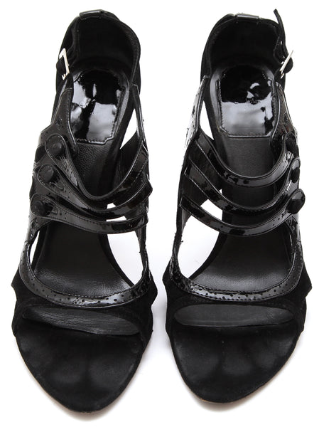 CHRISTIAN DIOR Black Patent Leather Suede Pump Peep Toe Strappy Heel 37.5 - Evesherfashion