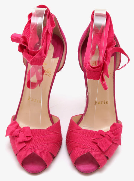 CHRISTIAN LOUBOUTIN Suede Sandal CHRISTERIVA Lace Up Pink 100mm 37.5 NEW - Evesherfashion
