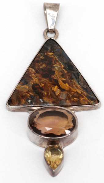 CHARLES ALBERT Sterling Silver Pendant Charm Agate Smoky Topez Citrine Gem - Evesherfashion