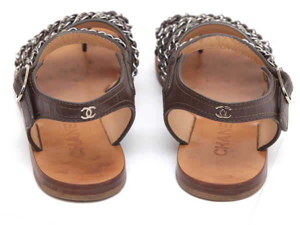 CHANEL Leather Sandal Brown Silver Chain Link Ankle Strap Buckle Sz 38.5 - Evesherfashion