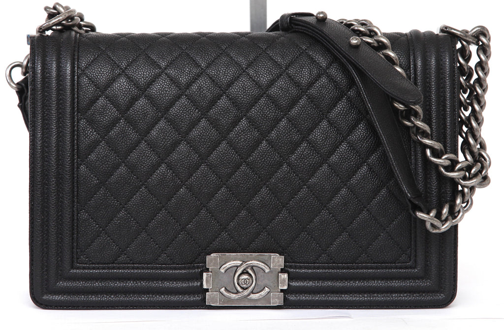 bbb71eb7 CHANEL Black Caviar Leather BOY BAG Ruthenium Quilted Cross Body 16A 2016