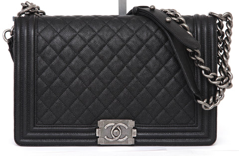 CHANEL Black Caviar Leather BOY BAG Ruthenium Quilted Cross Body 16A 2016 - Evesherfashion