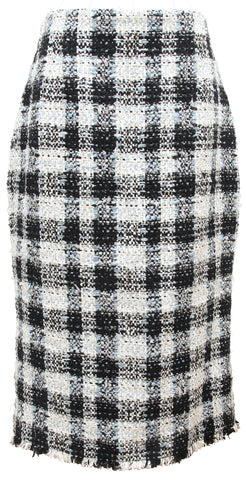 ALEXANDER MCQUEEN Skirt Tweed Checked Blue White Pencil Straight Knee Sz 46 - Evesherfashion
