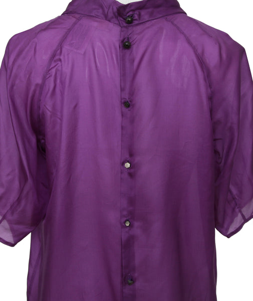 CHLOE Top Blouse Shirt Violet Purple Silk Short Sleeve Sz 34 - Evesherfashion