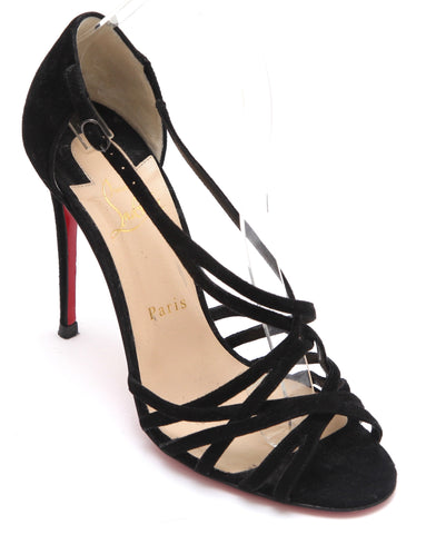 CHRISTIAN LOUBOUTIN Black Suede Leather Strappy D'Orsay Pump Sz 38 - Evesherfashion