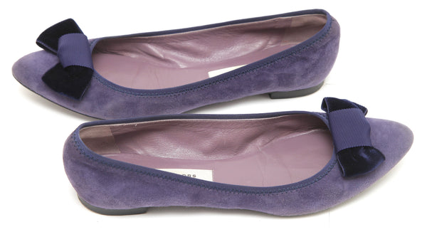 MARC JACOBS Purple Suede Leather Pointed Toe Flat Heel Bow 38 - Evesherfashion