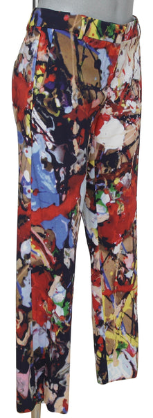 SPORTMAX Pant Trouser Straight Leg Abstract Pattern Sz M - Evesherfashion