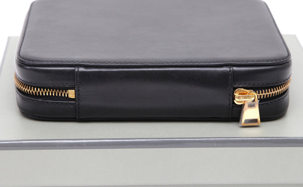 TOM FORD Black Leather Case Bag Makeup Brush Holder Limited Edition Gold Logo - Evesherfashion