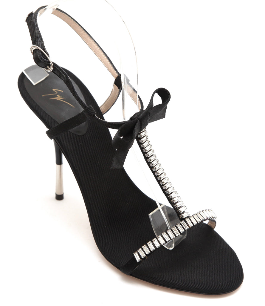GIUSEPPE ZANOTTI Black Sandal Satin Leather Crystal T-Strap Bow Ankle Sz 37.5 - Evesherfashion