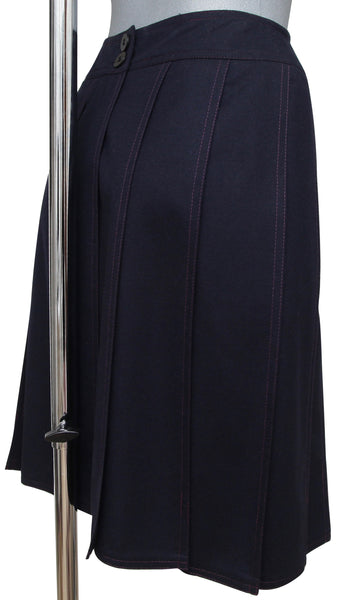 CHANEL Skirt Dress Navy Blue Pleated Knee Length A-Line Vintage XS - Evesherfashion