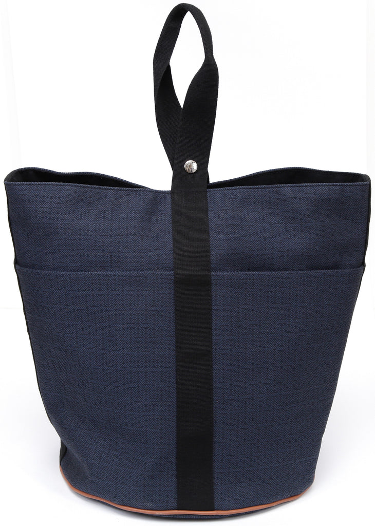 HERMES Tote Navy Black SAC DE PLAGE GM Cotton Leather Shopper Bag - Evesherfashion