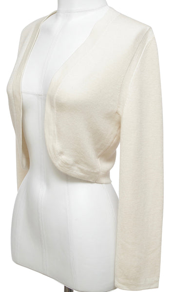 CAROLINA HERRERA Cardigan Sweater Ivory Long Sleeve Cashmere Silk Open Front L - Evesherfashion
