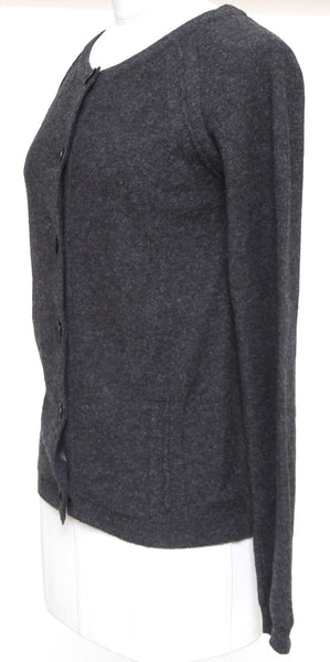 CHLOE Cardigan Sweater Knit Charcoal Grey Wool Long Sleeve Sz XS 2007 - Evesherfashion