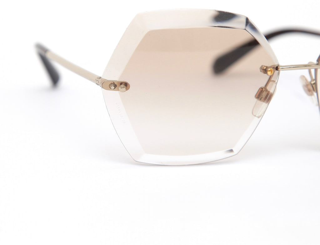 749ef0d7762 ... Chanel Sunglasses Rimless Octagon Brown Gradient Lens Gold Frame 71181  - Evesherfashion ...