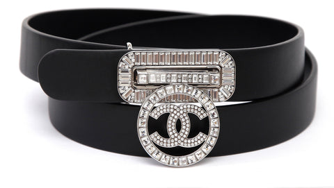 CHANEL Black Leather Belt Silver CC Crystal Buckle Sz 80 2017 17C NEW $1350 - Evesherfashion