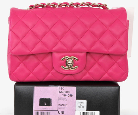 CHANEL Fuchsia Lambskin Leather MINI CLASSIC FLAP Shoulder Bag GOLD HW BNIB 2016 - Evesherfashion