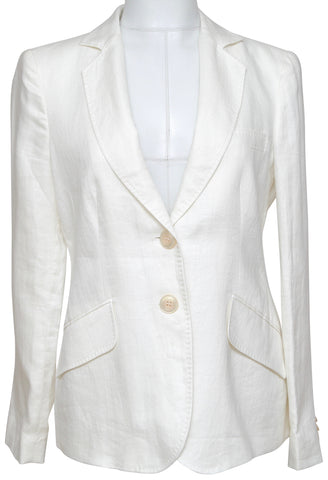 ARMANI COLLEZIONI Blazer Jacket Linen Off White Ivory Lapel Buttons Pockets 42 - Evesherfashion