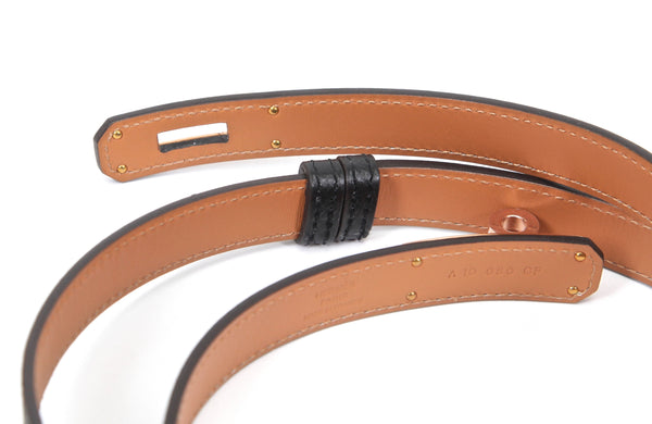 HERMES Leather Epsom KELLY BELT Black ROSE GOLD Plated Buckle One Size Brand New - Evesherfashion