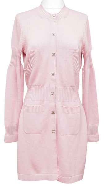 Chanel Cardigan Sweater Pink Cashmere Silver-Tone CC Buttons Long 42 Fall 2015 - Evesherfashion
