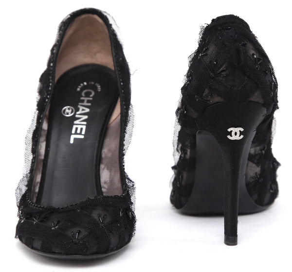 CHANEL Pump Black Satin Lace Bead Floral Leather Rounded Toe Shoe Sz 38.5 - Evesherfashion