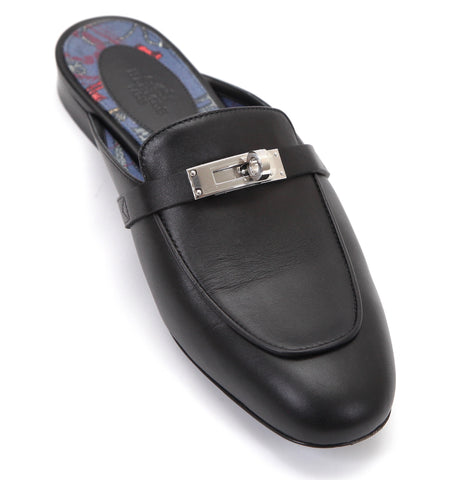 HERMES Mule Black Leather Palladium OZ Kelly Buckle Blue Canvas Flat Shoe 37.5 - Evesherfashion