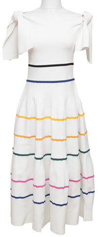 CAROLINA HERRERA Dress Sleeveless White Striped Viscose Maxi Bow Sz M - Evesherfashion