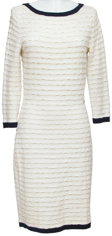 CHANEL Sweater Knit Dress Long Sleeve Cream Navy Gold CC Spring 2012 Sz 36